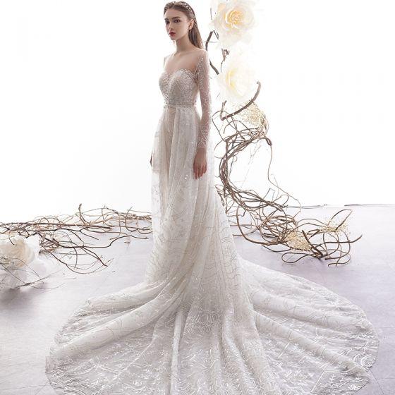Trumpet Wedding Dresses 2019: High-end Charming Champagne See-through Wedding Dresses