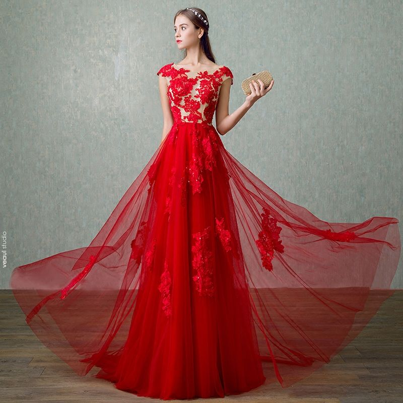 Chic / Beautiful Hall Formal Dresses 2017 Evening Dresses  Red Floor-Length / Long A-Line / Princess Cascading Ruffles Scoop Neck Backless Sleeveless Sequins Lace Appliques