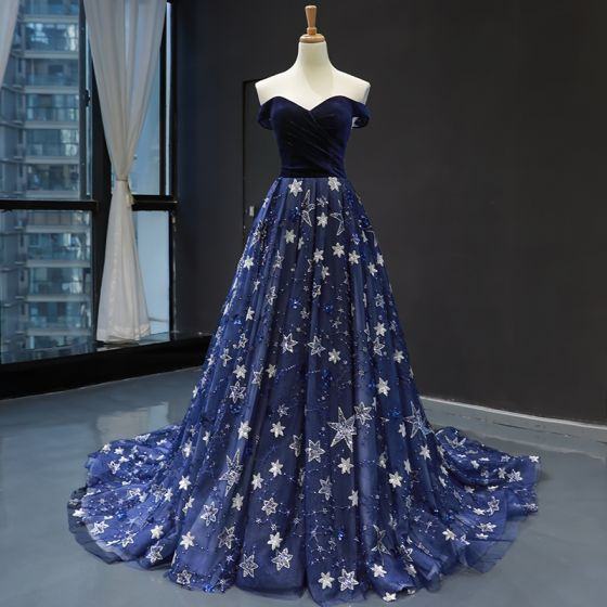 Chic / Beautiful Royal Blue Velour Evening Dresses  2020 A-Line / Princess Off-The-Shoulder Short Sleeve Glitter Appliques Star Chapel Train Ruffle Backless Formal Dresses
