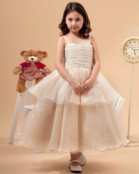 Tulle Hand Flower Ruffle Flower Girl Dresses