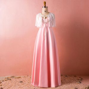 Schöne Pink Übergröße Abendkleider 2018 A Linie Mit Schal V-Ausschnitt Charmeuse Perlenstickerei Kristall Abend Festliche Kleider