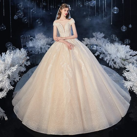 Chic / Beautiful Champagne See-through Bridal Wedding Dresses 2020 Ball Gown Scoop Neck Short Sleeve Backless Leaf Appliques Lace Beading Glitter Tulle Cathedral Train Ruffle
