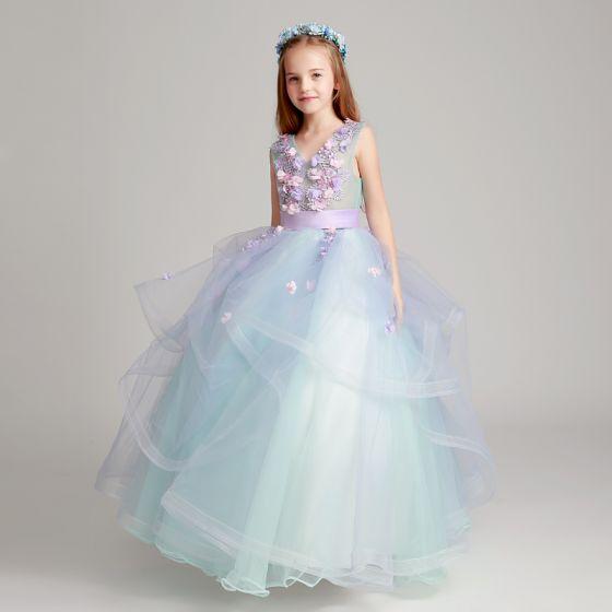 Flower Fairy Sky Blue Lavender Flower Girl Dresses 2017 Ball Gown V-Neck Sleeveless Appliques Flower Sash Floor-Length / Long Cascading Ruffles Wedding Party Dresses