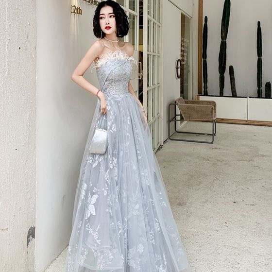 Chic / Beautiful Grey Evening Dresses  2020 A-Line / Princess Strapless Sleeveless Appliques Sequins Feather Glitter Flower Floor-Length / Long Ruffle Backless Formal Dresses