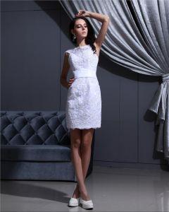 Bijou Manches Fermeture Eclair Longueur Mini Satin Mini Robe De Mariée Femme Applique