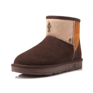 Fashion Collision Color Women's Chocolate Winter Snow Boots