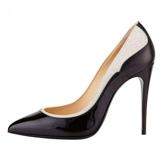 Fashion Two Tone Black Evening Party Pumps 2020 Sequins 10 cm Stiletto Heels Pointed Toe Pumps