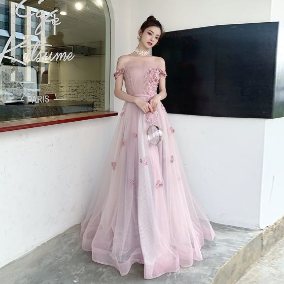 Chic / Beautiful Blushing Pink Evening Dresses  2020 A-Line / Princess Off-The-Shoulder Short Sleeve Spotted Tulle Appliques Flower Beading Pearl Sash Floor-Length / Long Ruffle Backless Formal Dresses