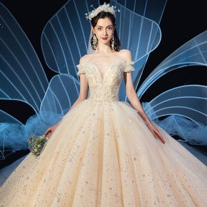Sparkly Champagne Wedding Dresses 2020 Ball Gown Off-The-Shoulder See-through V-Neck Short Sleeve Backless Beading Glitter Sequins Tulle Cathedral Train Ruffle