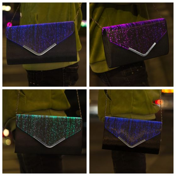 Eye-catching Illuminated Black LED Glitter Clutch Bags 2021 Christmas Rave Club Evening Party
