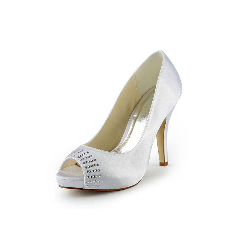 f02e8201f Beautiful White Bridal Shoes Satin Peep Toe Stilettos Pumps With Rhinestone