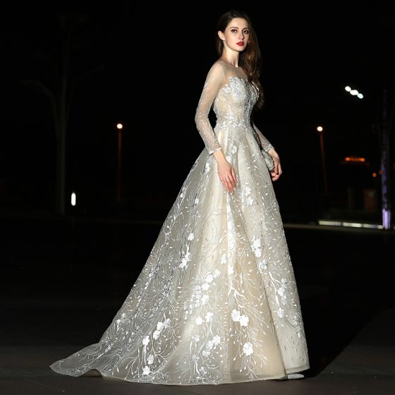 Modern Fashion Champagne Wedding Dresses 2017 A Line Princess Square Neckline Long Sleeve Liques Lace Sweep Train