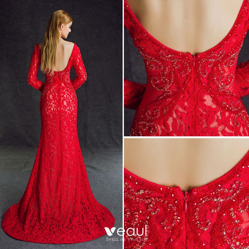 Stunning Red Split Front Evening Dresses  2017 V-Neck Long Sleeve Lace Beading Crystal Backless Trumpet / Mermaid Formal Dresses Sweep Train