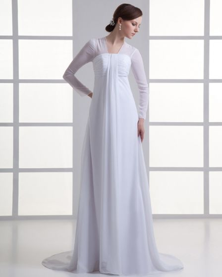 Chiffon Ruffle V Neck Court Train Empire Wedding Dress