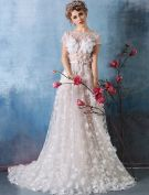 2016 Gorgeous Square Neckline Beaded Applique Petals Champagne Lace Wedding Dress With Sash