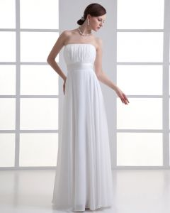 Chiffon Ruffle Strapless Floor Length Pleated Empire Wedding Dress