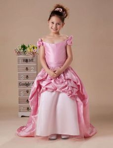 Pink Off The Shoulder Taffeta Flower Girl Dress