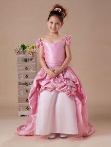 Pink Off The Shoulder Taffeta Flower Girl Dress
