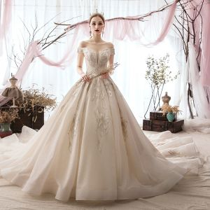 Elegant Champagne Wedding Dresses 2019 Ball Gown Off-The-Shoulder Beading Lace Flower Sequins Short Sleeve Backless Cathedral Train