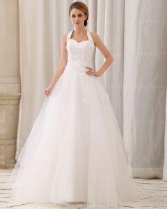 Elegante Applique Solide Perles Paillette Une Ligne-licol Eclair Dans Le Dos Tribunal Train Robe De Mariée En Satin