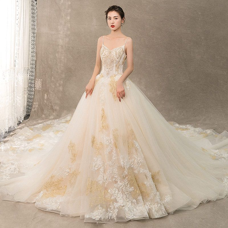 Luxury / Gorgeous Champagne Wedding Dresses 2019 A-Line / Princess Spaghetti Straps Beading Pearl Crystal Sleeveless Backless Lace Flower Royal Train