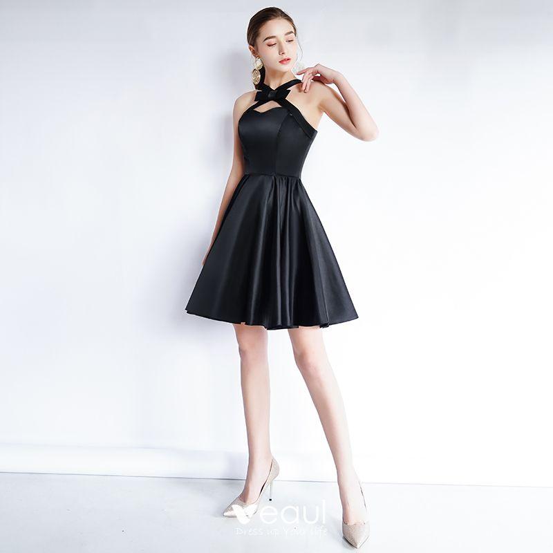 a2cce2b7f015 Encantador Negro de fiesta Vestidos de graduación 2020 A-Line / Princess  Sweetheart Bowknot Sin Mangas Sin Espalda Cortos Vestidos Formales