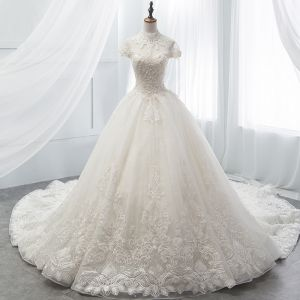 Chinese style Ivory Wedding Dresses 2018 Ball Gown High Neck Cap Sleeves Backless Appliques Lace Pearl Beading Cathedral Train Ruffle