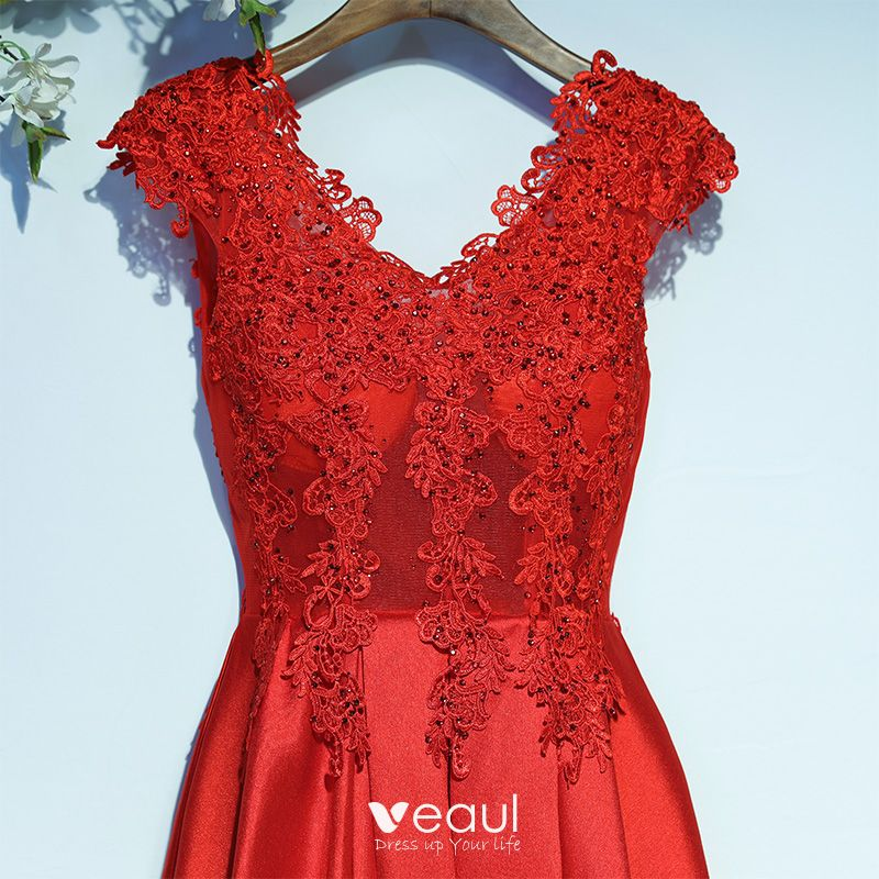 Chic / Beautiful Red Formal Dresses Evening Dresses  2017 Lace Flower Short Sleeve V-Neck A-Line / Princess Ankle Length