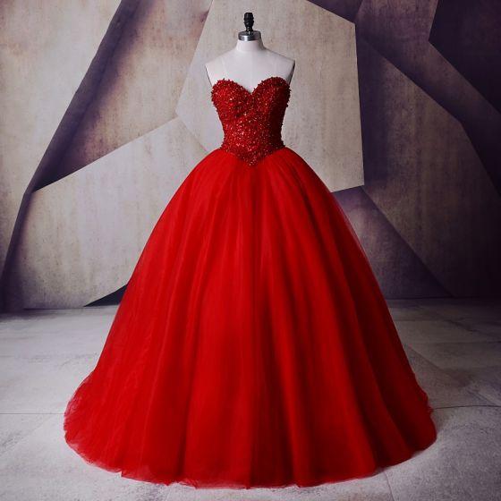 Błyszczące Czerwone Suknia Balowa Sukienki Na Bal Kochanie Bez Rękawów Frezowanie Perła Cekiny Długie Tiulowe Sukienki Wizytowe