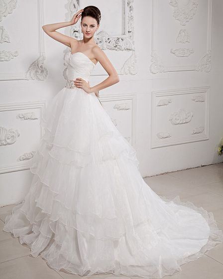 Taffeta Organza Pleat Beading Sweetheart Court Train A-Line Wedding Dresses