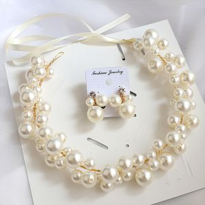 Elegant Gold Earrings Headbands Bridal Jewelry 2020 Alloy Lace-up Pearl Headpieces Wedding Accessories