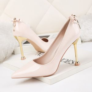 Affordable Blushing Pink Dating 2020 Patent Leather Bow 9 cm Stiletto Heels Pointed Toe Pumps