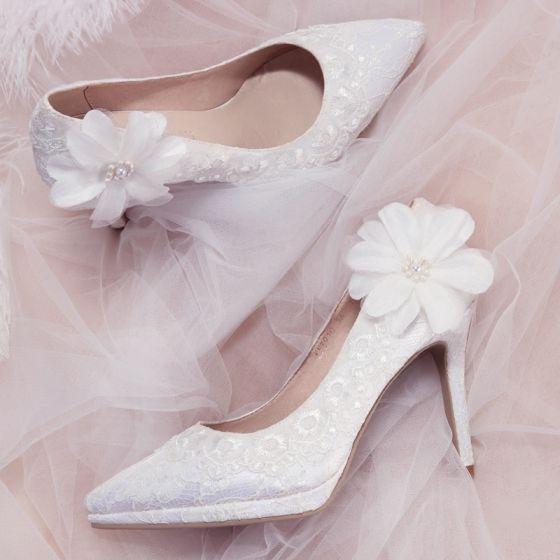 hermoso marfil zapatos de novia 2018 boda apliques con encaje perla