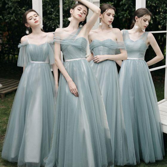 Modest / Simple Mint Green Bridesmaid Dresses 2021 A-Line / Princess Off-The-Shoulder Short Sleeve Backless Floor-Length / Long Wedding Party Dresses