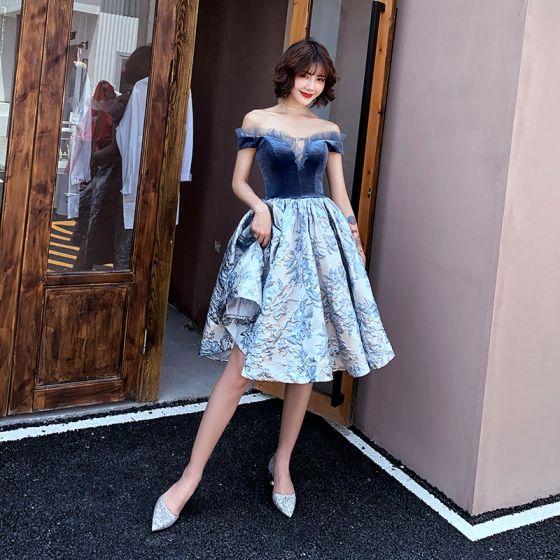 Mode Marineblau Heimkehr Abiballkleider 2020 Ballkleid Off Shoulder Kurze Ärmel Blumen Rüschen Knielang Rückenfreies Festliche Kleider