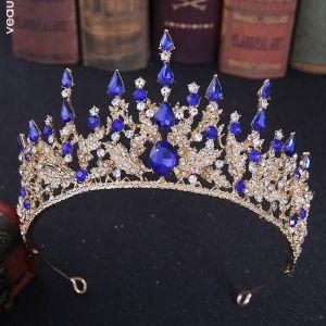 Elegante Koninklijk Blauw Rhinestone Tiara Bruids Haaraccessoires 2020 Legering Huwelijk Accessoires