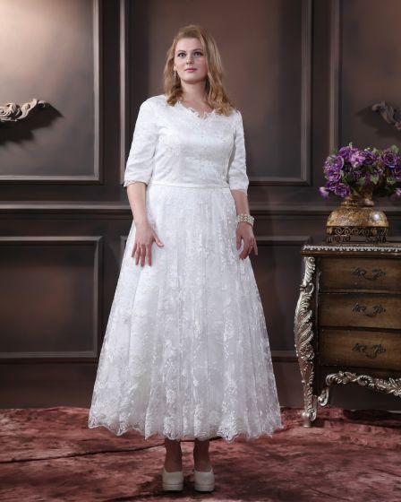 Dentelle Col En V, Plus La Taille De Mariée Robes De Mariage De Robe