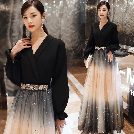 Fashion Black Evening Dresses  2020 A-Line / Princess V-Neck Star Sequins Rhinestone Long Sleeve Floor-Length / Long Formal Dresses