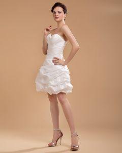 Taft Rüschen Schatz Knielangen kurzes Brautkleider Hochzeitskleid / Abschlusskleider