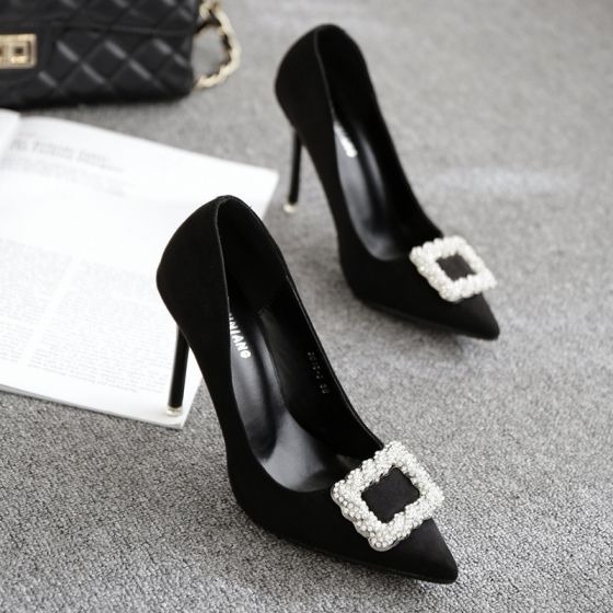 Chic / Beautiful Black 2017 PU Office Beading Rhinestone Evening Party Womens Shoes
