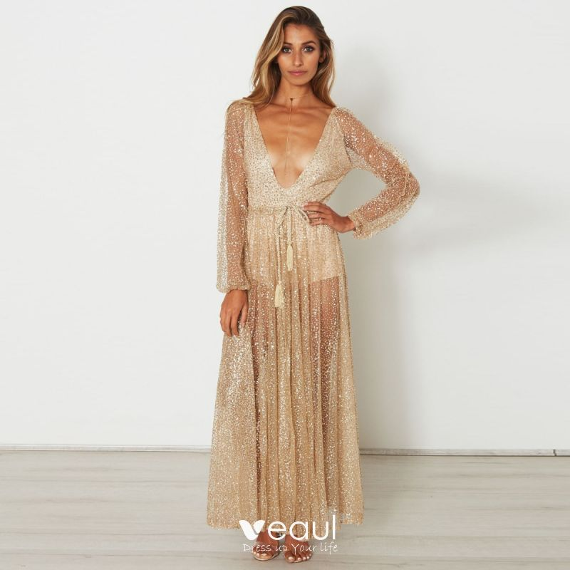 61dfb620357 Sexy See-through Gold Maxi Dresses 2018 V-Neck Long Sleeve Glitter Tulle  Lace-up Tassel ...