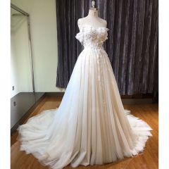 Chic / Beautiful Champagne Wedding Dresses 2019 A-Line / Princess Off-The-Shoulder Short Sleeve Backless Appliques Lace Pearl Glitter Tulle Chapel Train Ruffle