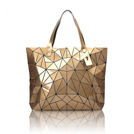 Mode Guld Geometrisk Skuldertasker Messenger taske 2021 PU Laklæder Dametasker