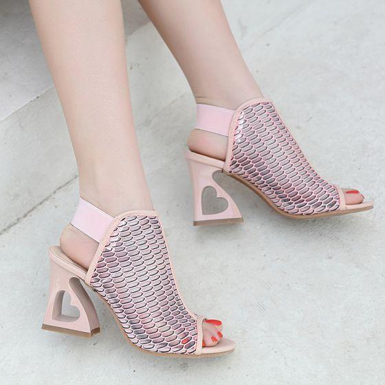 Chic / Belle Rougissant Rose Rendez-vous Percé Sandales Femme 2020 9 cm Talons Épais Peep Toes / Bout Ouvert Sandales