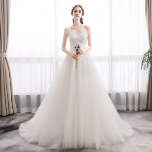 Elegant Ivory Wedding Dresses 2019 A-Line / Princess Spaghetti Straps Sequins Lace Flower Sleeveless Backless Court Train