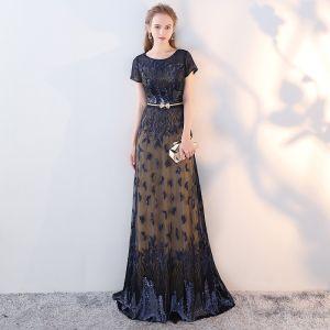 Schöne Marineblau Abendkleider 2017 A Linie U-Ausschnitt Spitze Stickerei Pailletten Handgefertigt Abend Festliche Kleider