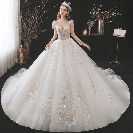 Charmig Fantastisk Elfenben Bröllopsklänningar 2021 Balklänning Urringning Beading Rhinestone Spets Blomma Långärmad Royal Train Bröllop