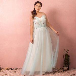 Classique Élégant Bleu Grande Taille Robe De Soirée 2018 Princesse Tulle U-Cou Dos Nu Perlage Paillettes Robe De Bal
