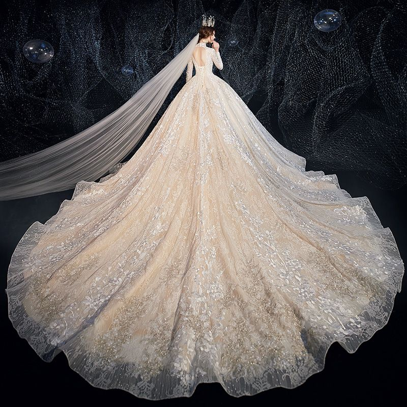 Vintage / Retro Champagne Wedding Dresses 2020 Ball Gown High Neck Long Sleeve Backless Glitter Tulle Appliques Lace Beading Cathedral Train Ruffle