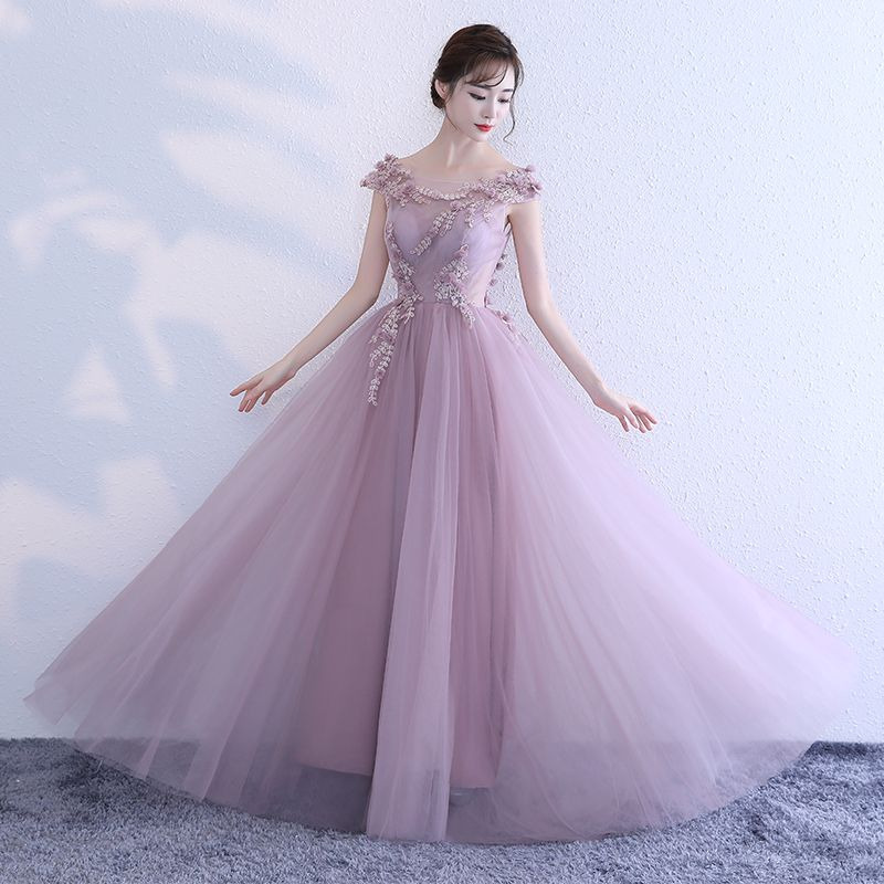Elegant Lavender Evening Dresses  2017 A-Line / Princess Scoop Neck Sleeveless Appliques Flower Floor-Length / Long Ruffle Backless Formal Dresses